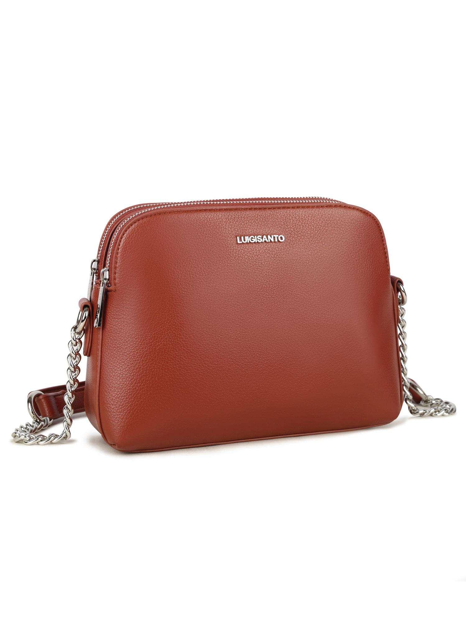 Dámska hnedá crossbody kabelka na zips - UNI