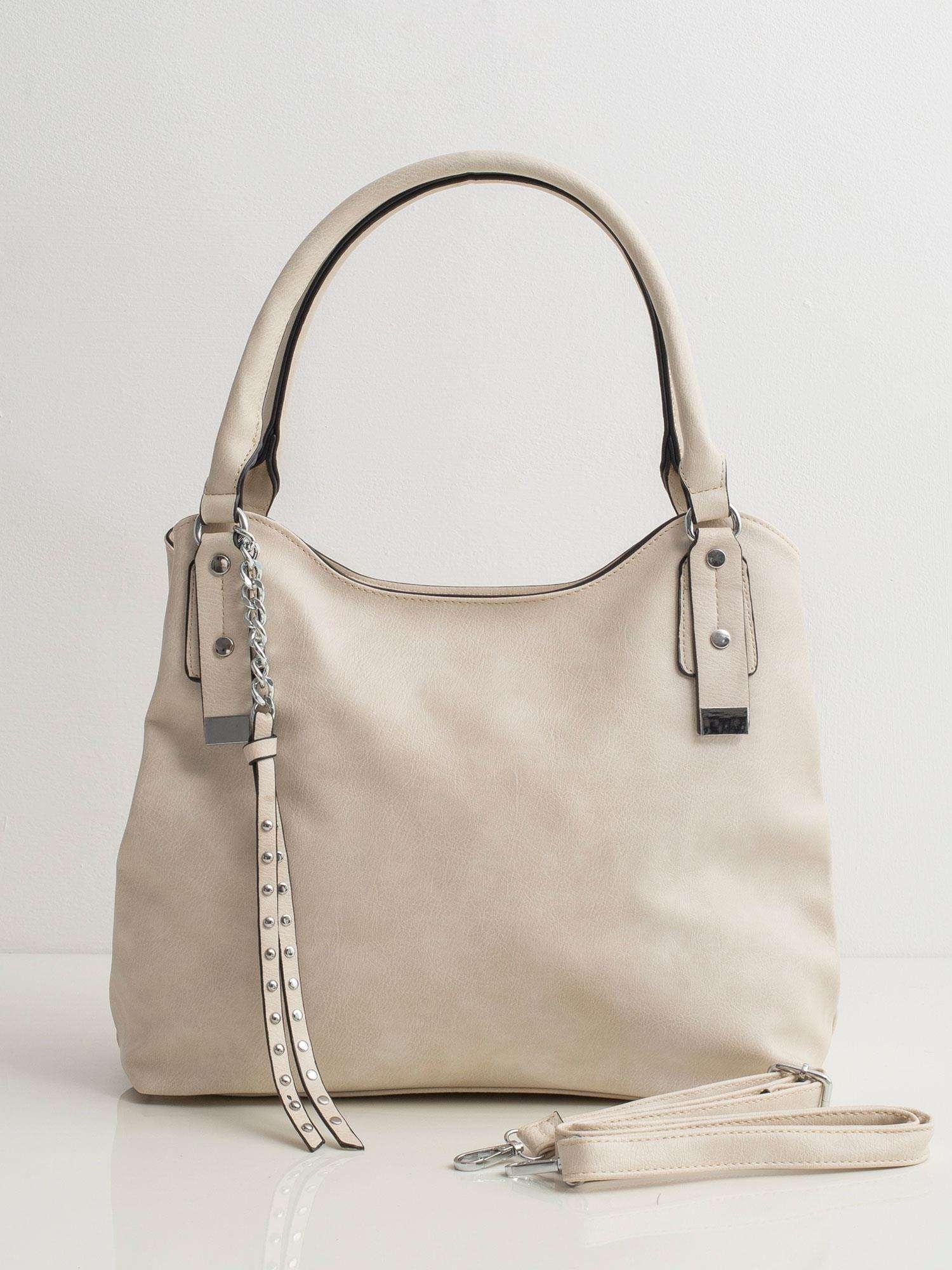 Béžová kabelka na rameno s príveskom - UNI