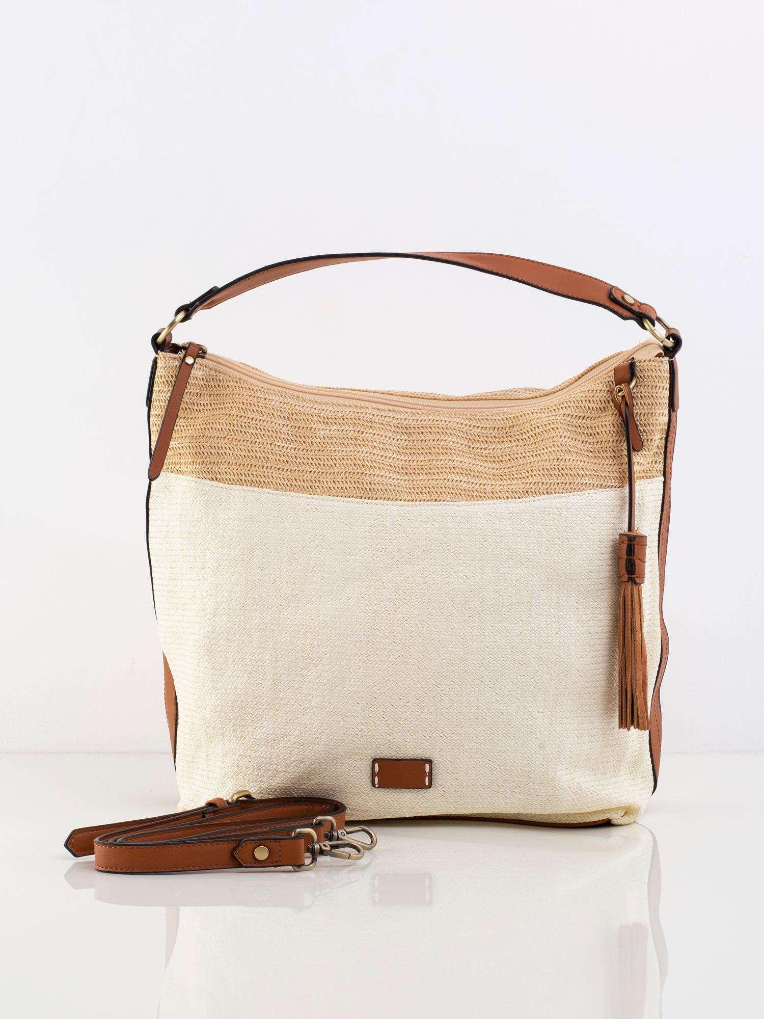 Tkaná béžová kabelka na rameno - UNI