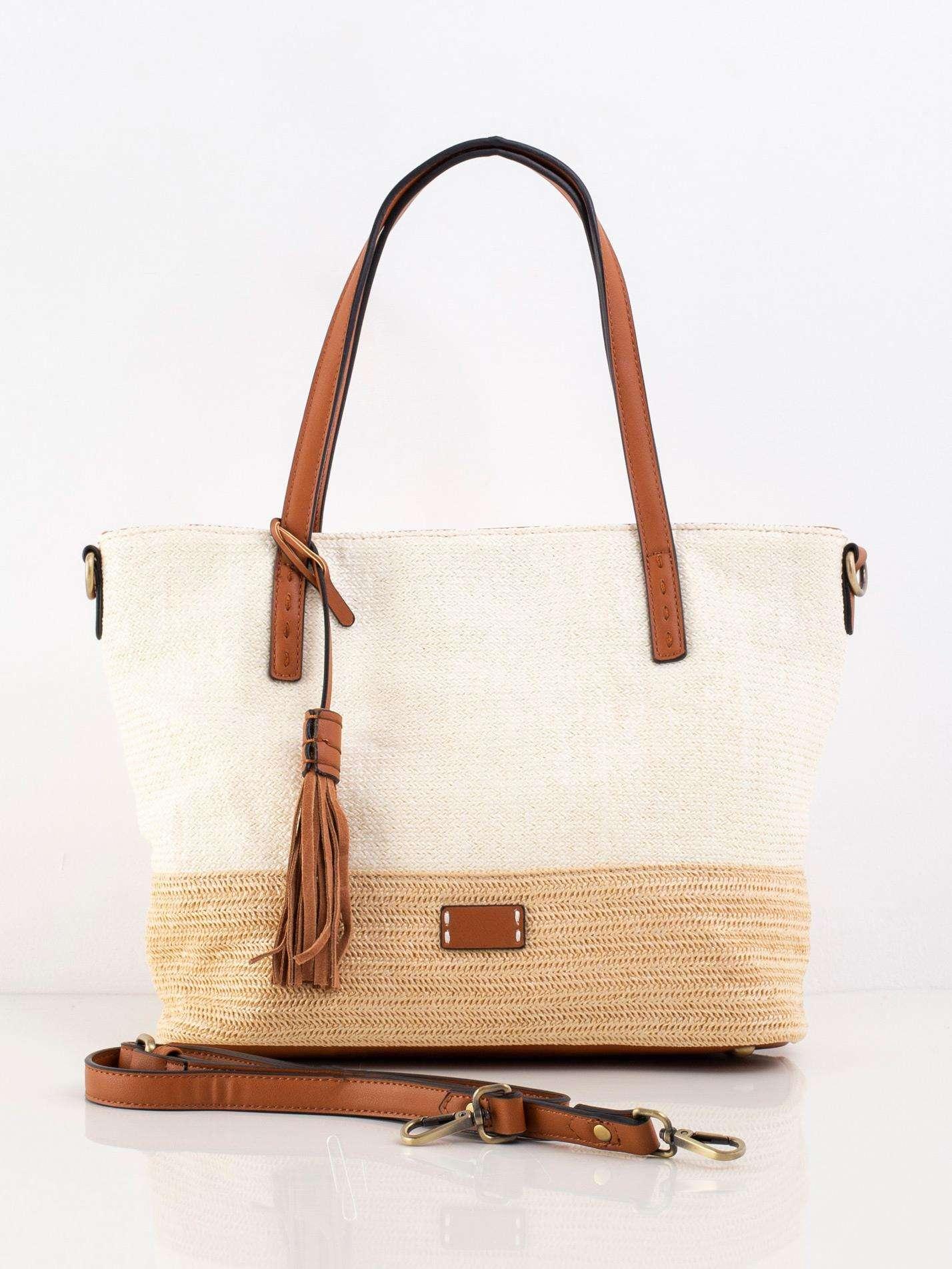 Pletená béžová kabelka na rameno - UNI