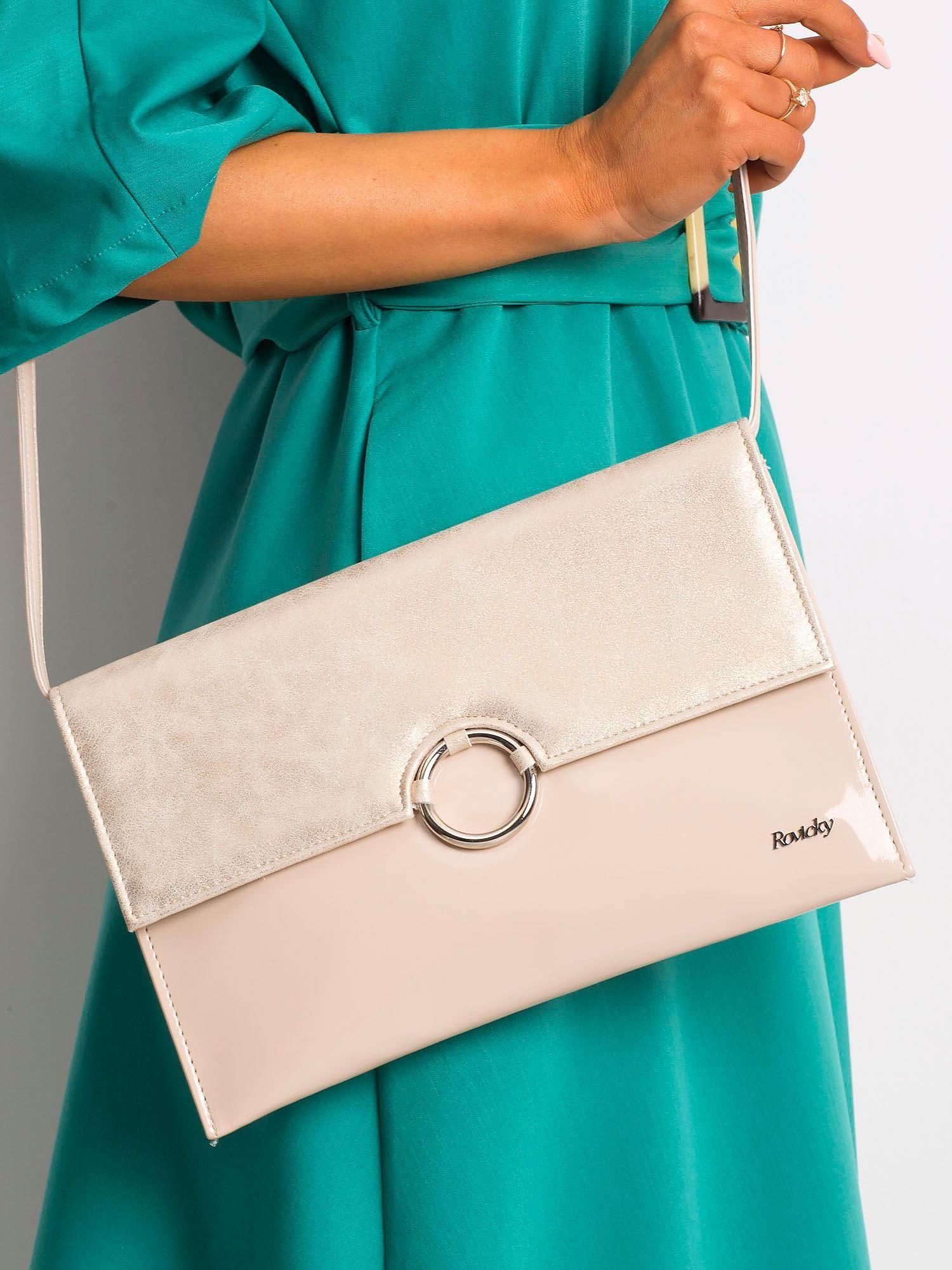 Béžová lakovaná kabelka na rameno - UNI