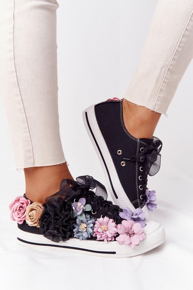 Čierne tenisky s kvetinami - 37