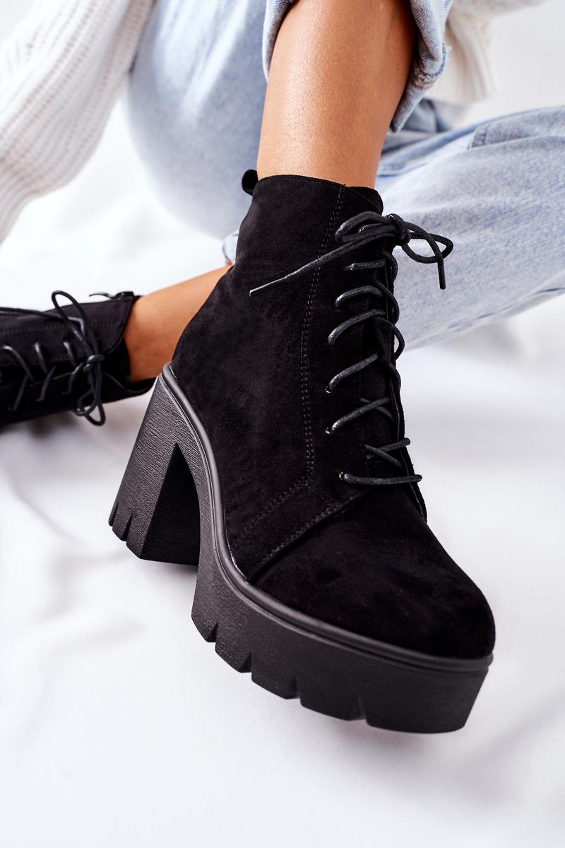 Zateplené čierne semišové topánky - 39