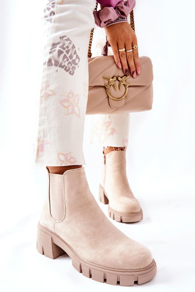 Béžové semišové topánky - 36