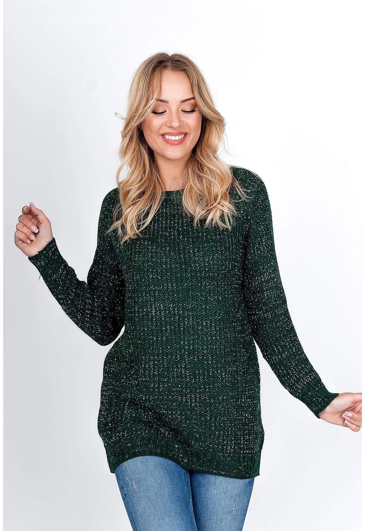 Tmavo zelený sveter s trblietkami