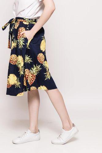 Tmavomodrá dámska sukňa s potlačou ananásov