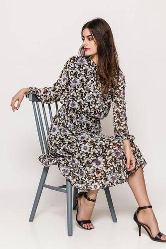 Tmavomodré midi šaty s kvetinovým vzorom a golierom