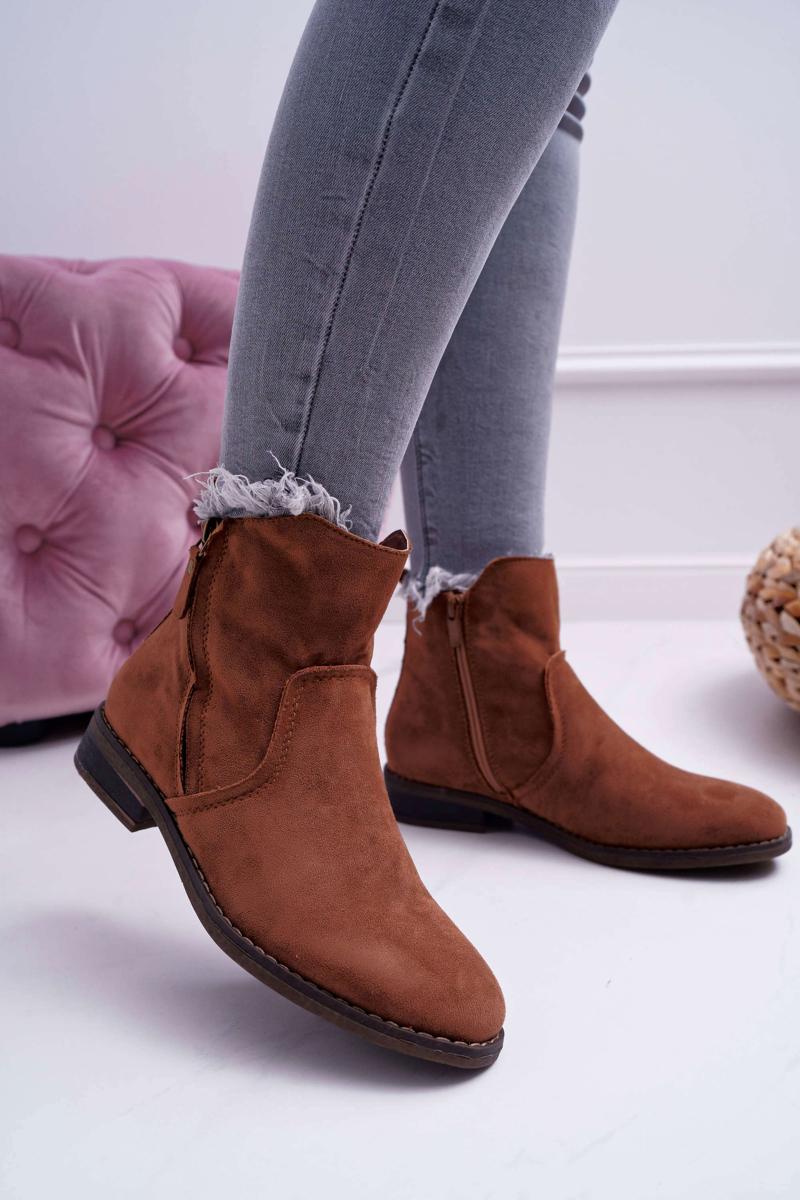 Hnedé zateplené semišové topánky - 39