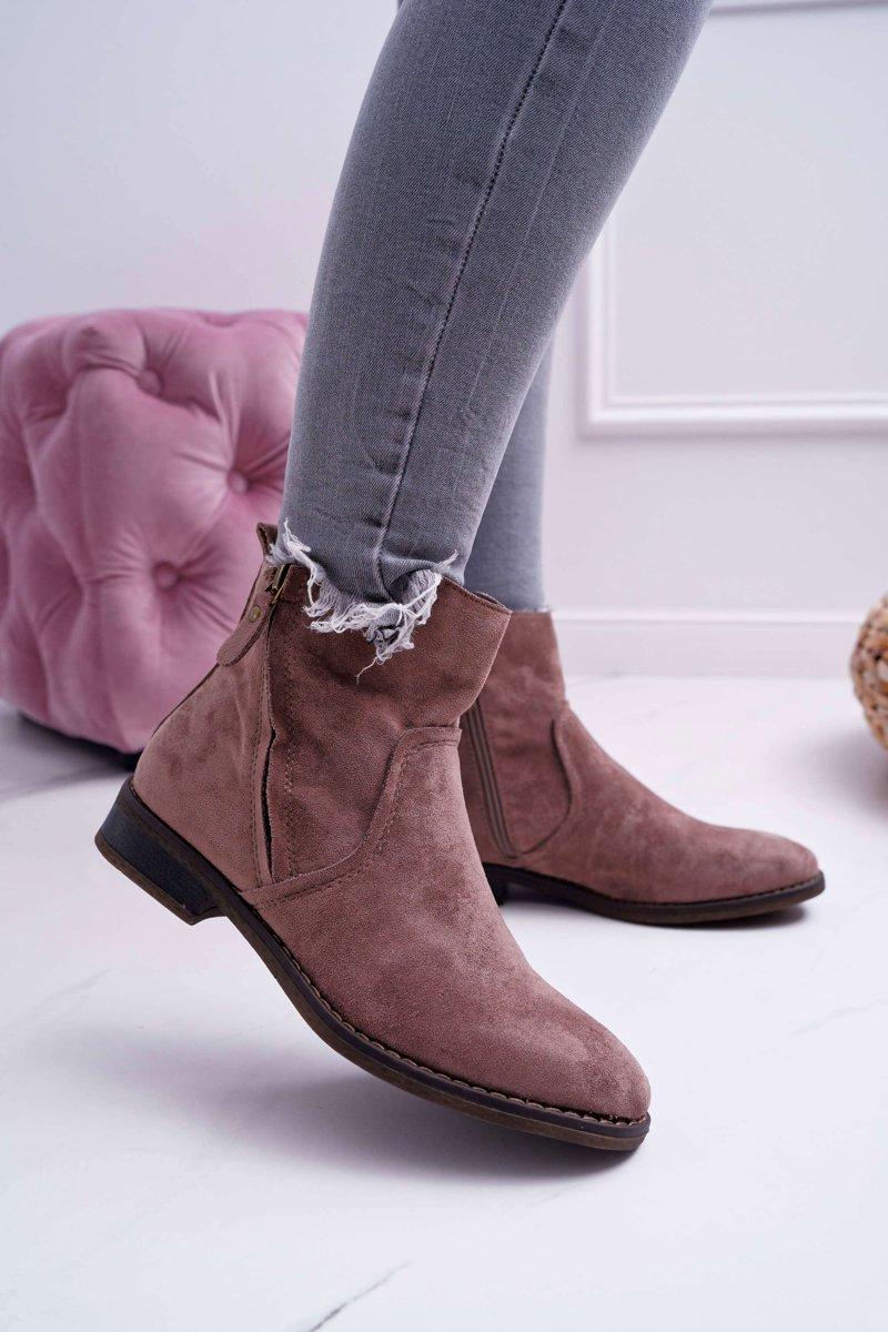 Hnedé semišové topánky na plochom podpätku - 38