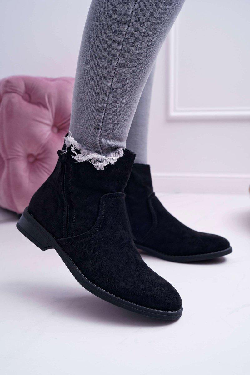 Čierne semišové topánky na plochom podpätku - 36