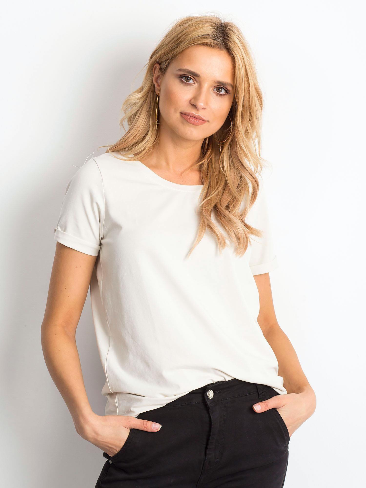 Dámske béžové bavlnené tričko - XS