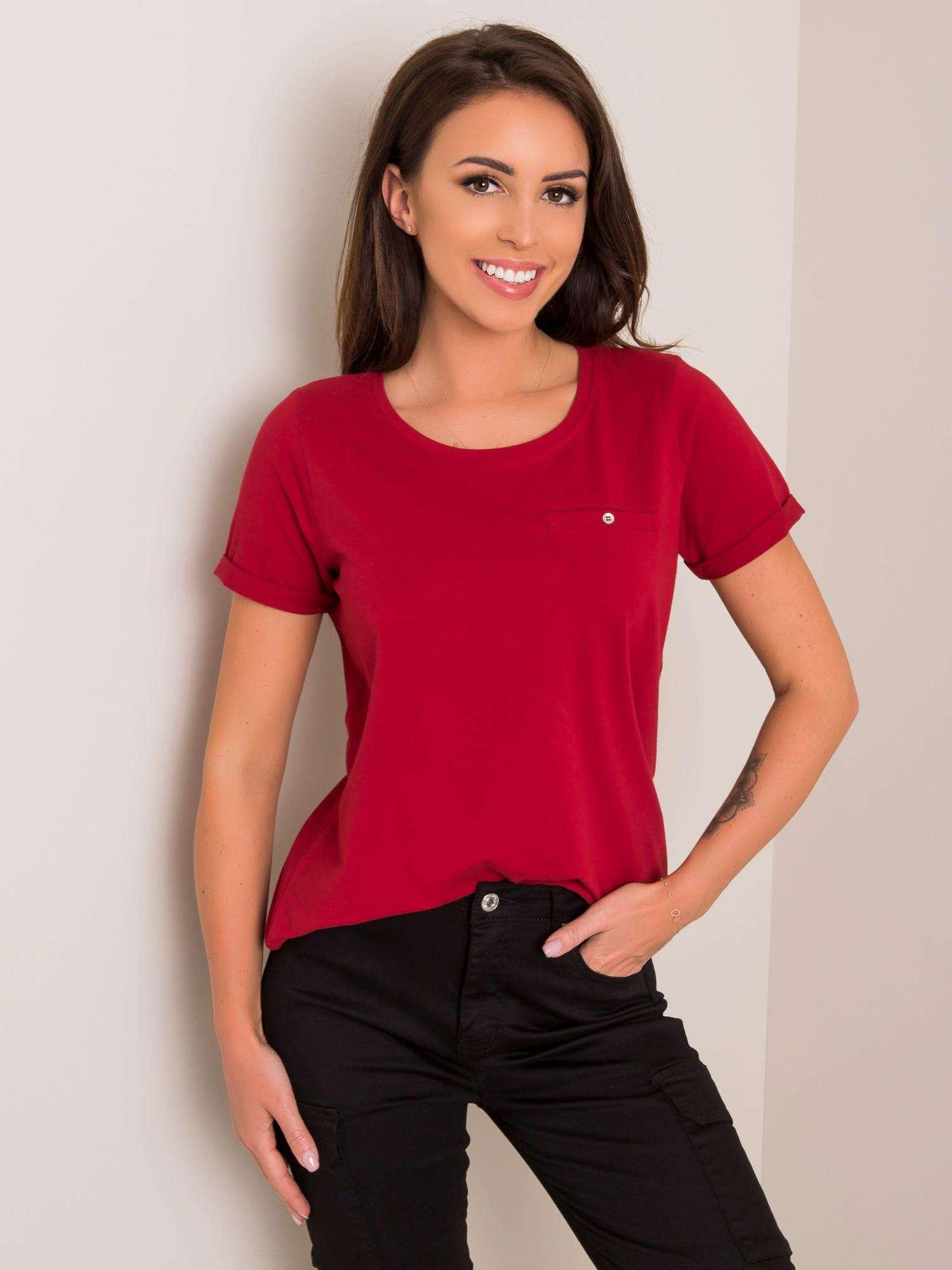Dámske bordové bavlnené tričko - XS