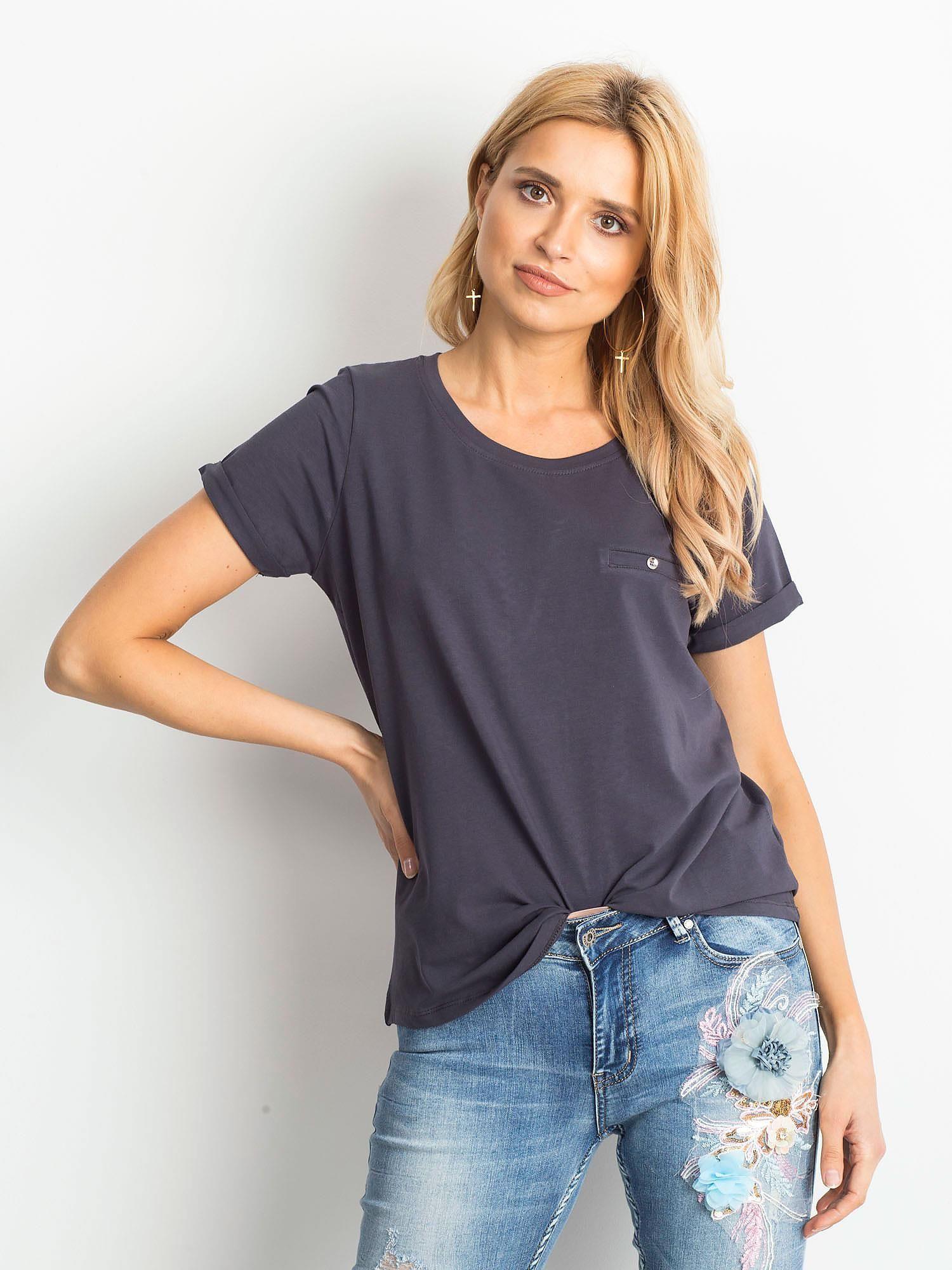 Dámske šedé bavlnené tričko - XL
