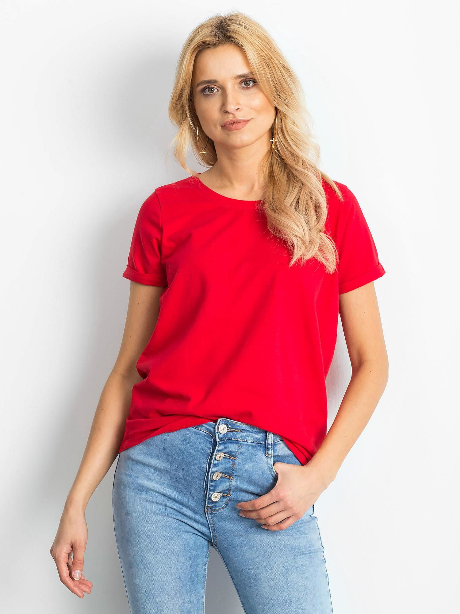 Dámske červené bavlnené tričko - XS