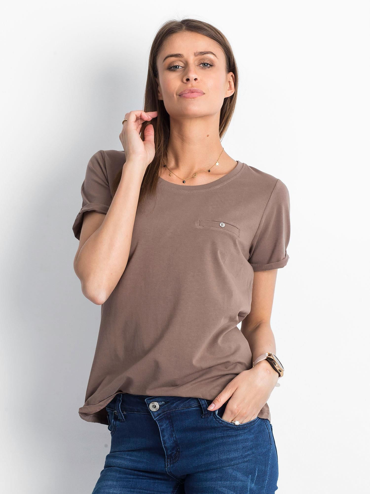 Dámske hnedé bavlnené tričko - XS