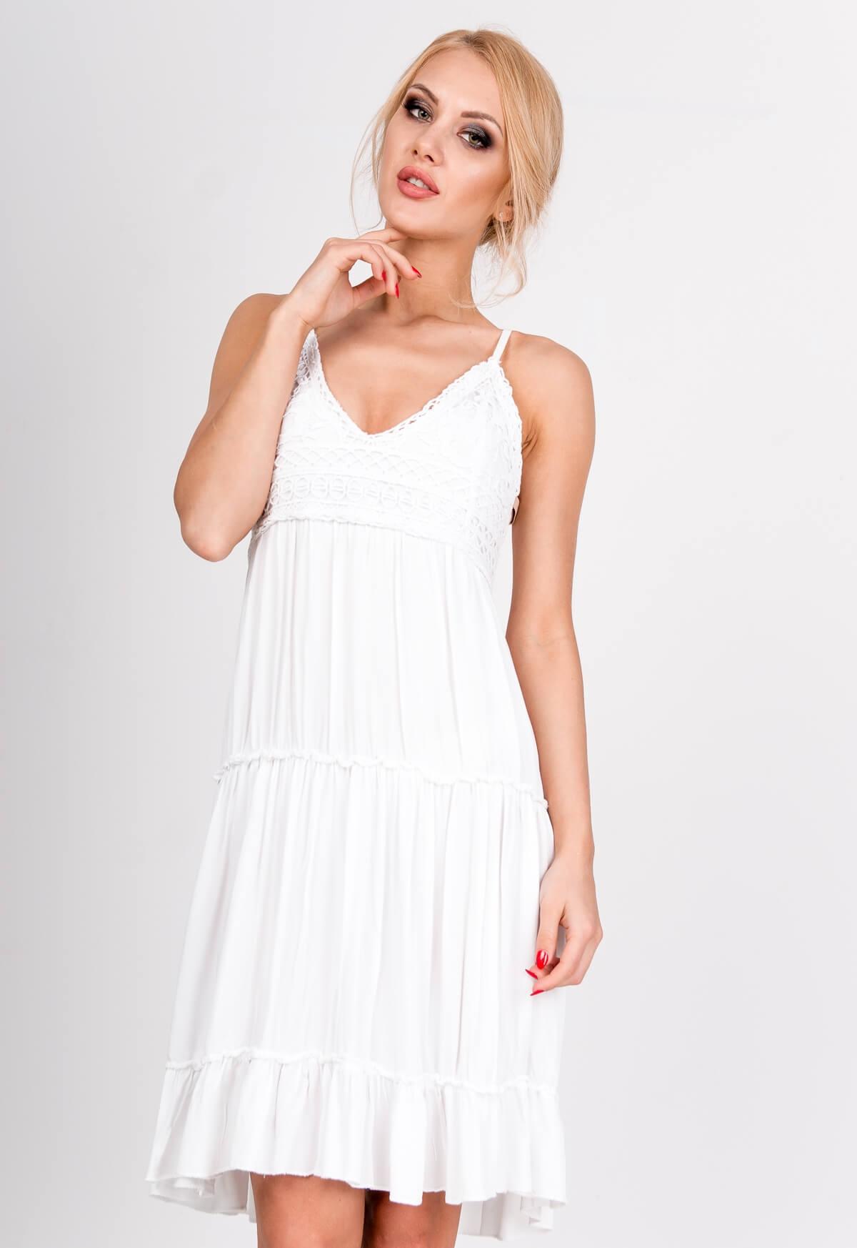 Biele čipkované šaty na ramienka - UNI