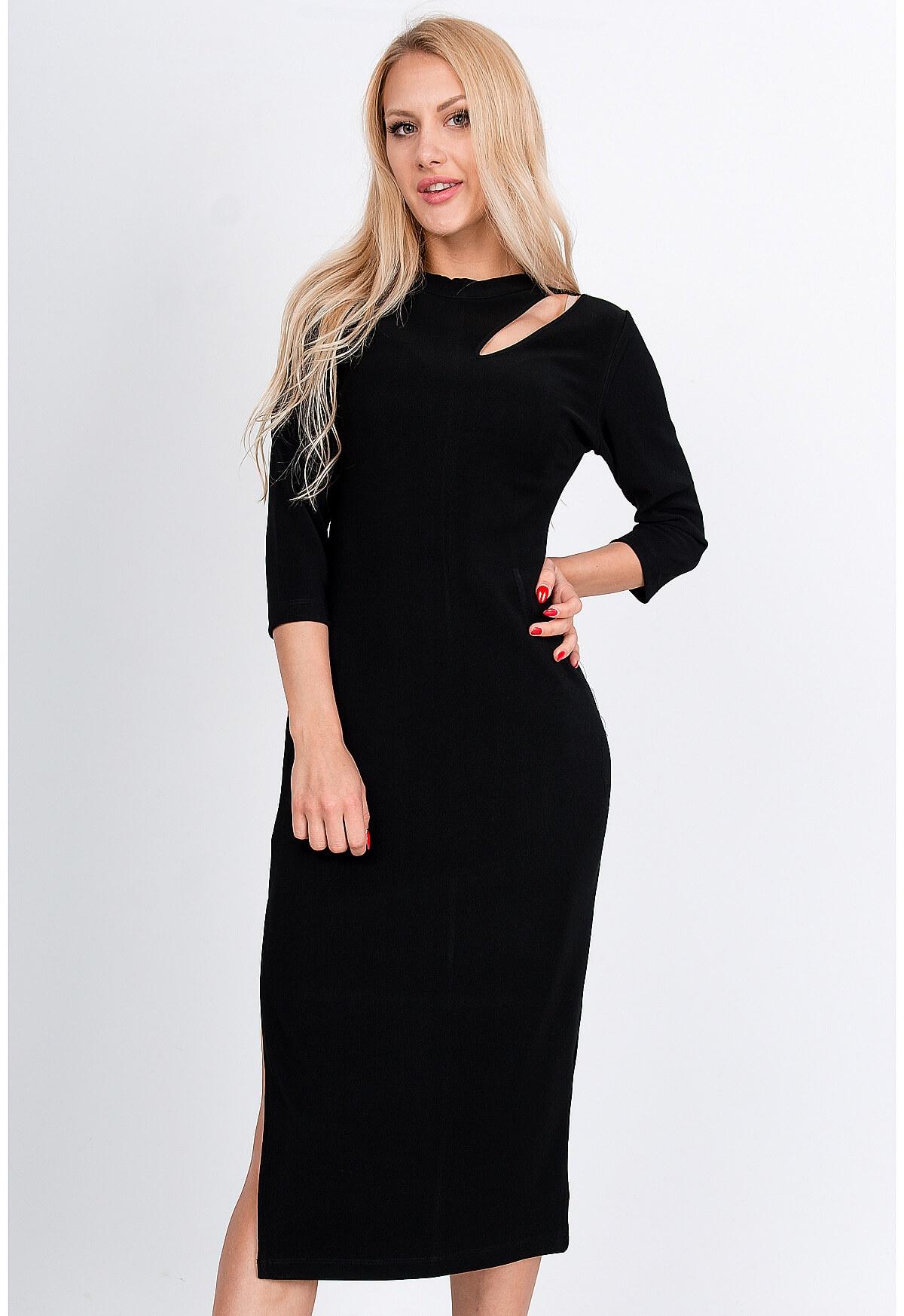 Čierne midi šaty s rázporkom - M