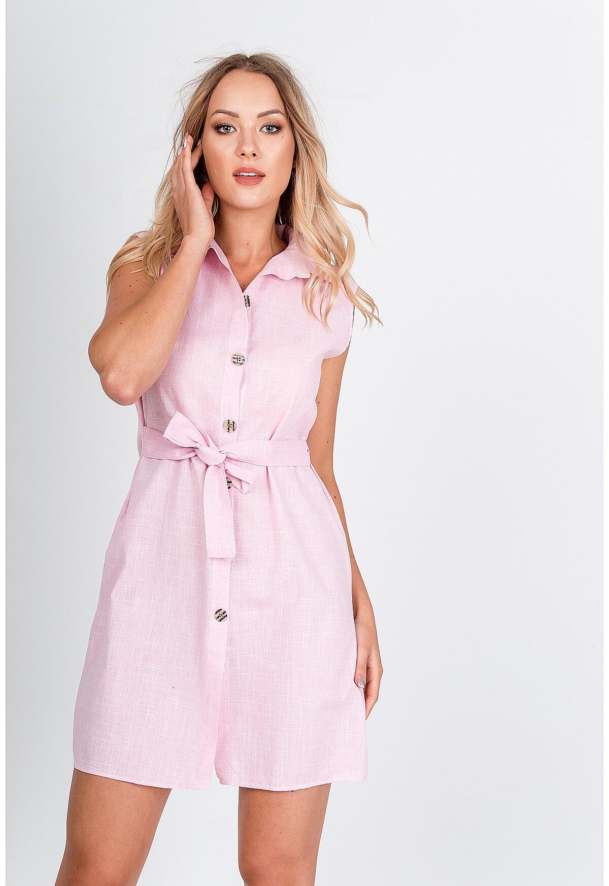 Ružové krátke košeľové šaty bez rukávov - L