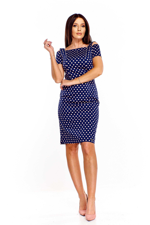 Štýlové bavlnené modré bodkované šaty - XL