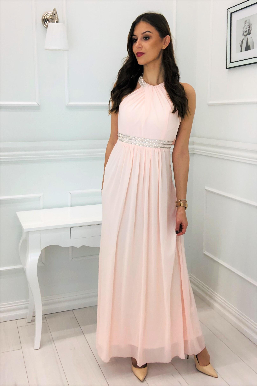 Plesové tylové šaty s holým chrbtom ružové - S
