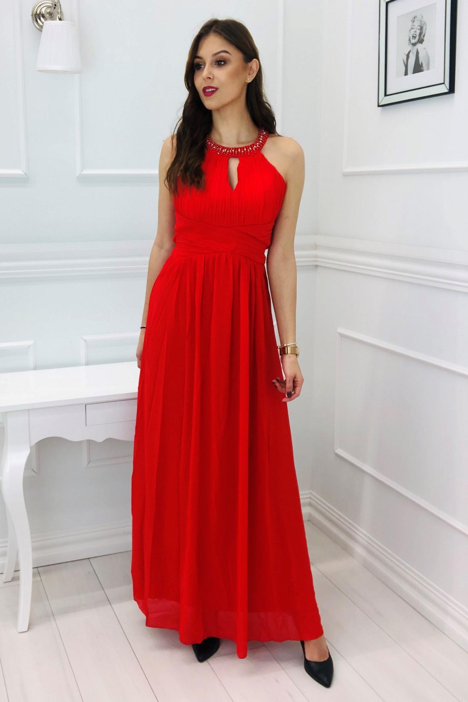 Plesové tylové šaty v červenej farbe - L