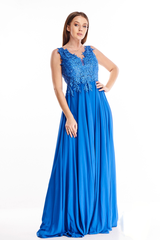 Plesové šaty s vyšívaným vrchom modré - 38