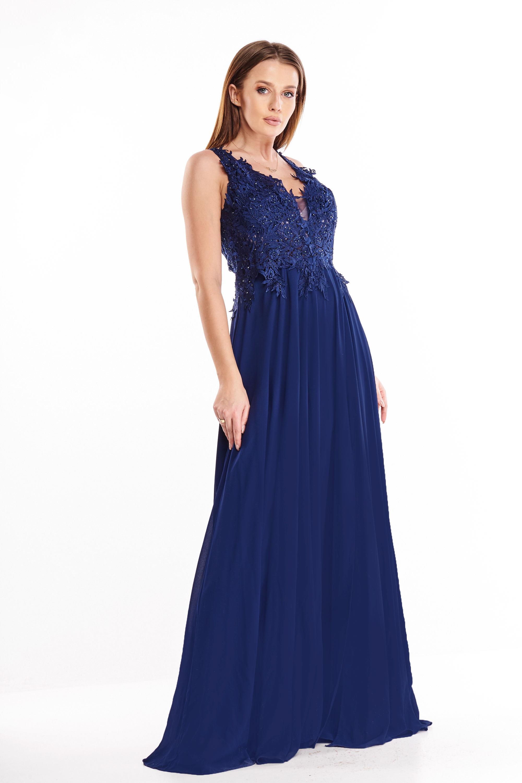 Plesové šaty s vyšívaným vrchom námornícke modré - 42