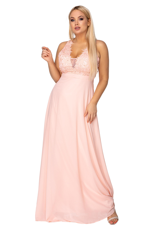 Tylové plesové ružové šaty s vyšívaným topom s perlami a kryštálmi - S