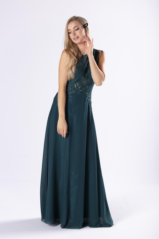 Zelené spoločenské šaty s čipkou - 36