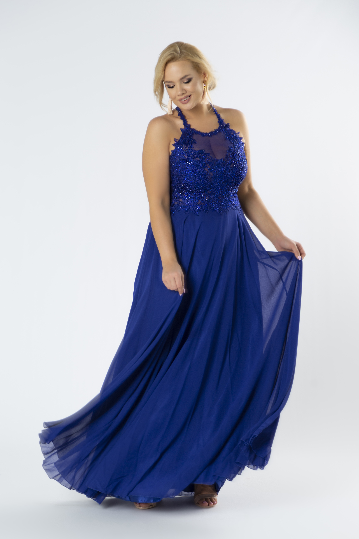 Tylové modré šaty s vyšívanou vrchnou časťou s lesklými kryštálmi - 34