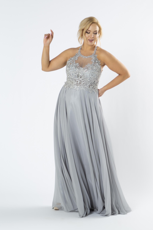 Tylové šedé šaty s vyšívanou vrchnou časťou s lesklými kryštálmi - 34