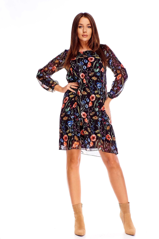 Tylové šaty s kvetinovým vzorom čierne - 40