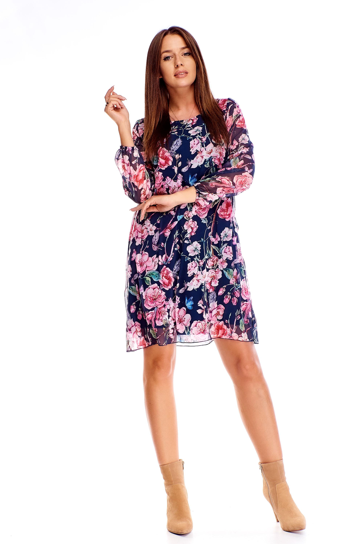 Tylové šaty s kvetinovým vzorom námornícke modré - 38