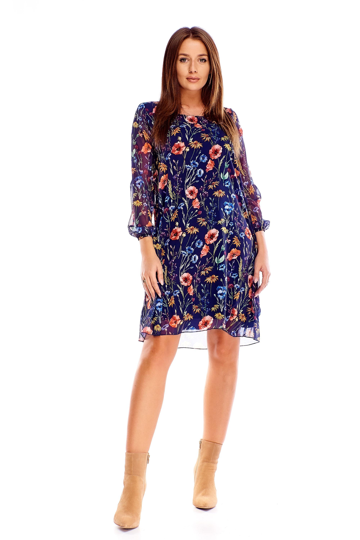 Kvetinové šaty s 3/4 rukávmi námornícke modré - 38