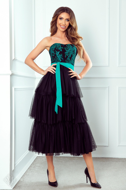 Tylové polodlhé šaty s volánmi čierne - 34
