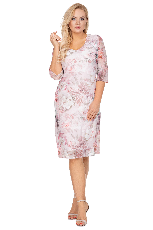 Elegantné tylové šaty s výstrihom do V bielo-ružové - 38