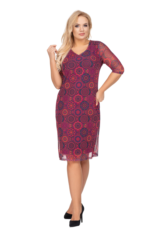 Fialové šaty puzdrového strihu so vzormi - 48
