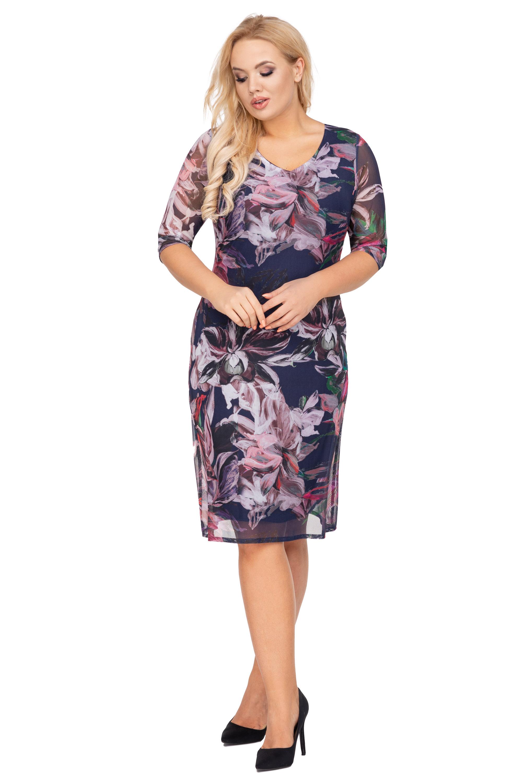 Modro-fialové kvetinové šaty puzdrového strihu - 48