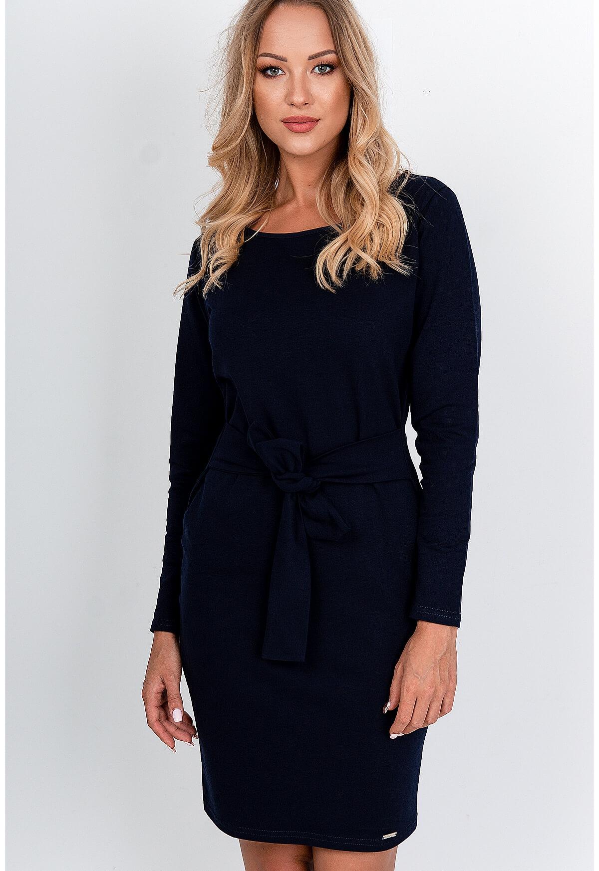 Večerné bavlnené tmavomodré šaty s mašľou - L