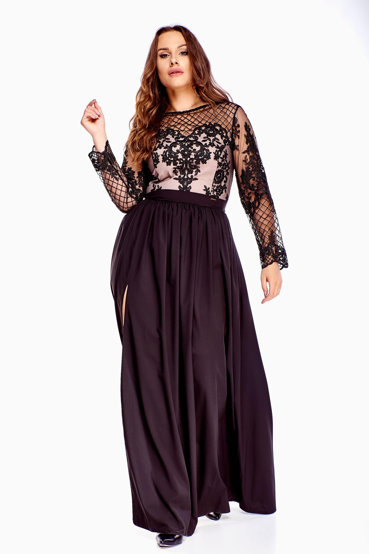 Plesové dlhé šaty v čiernej farbe - XXL