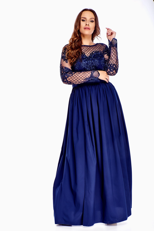 Plesové dlhé šaty v námorníckej modrej farbe - XXL