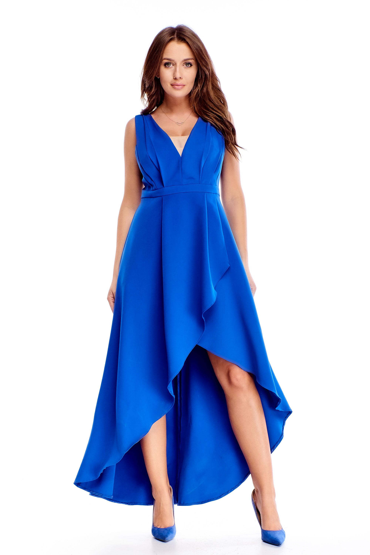 Večerné dlhé šaty s asymetrickým strihom modré - 40