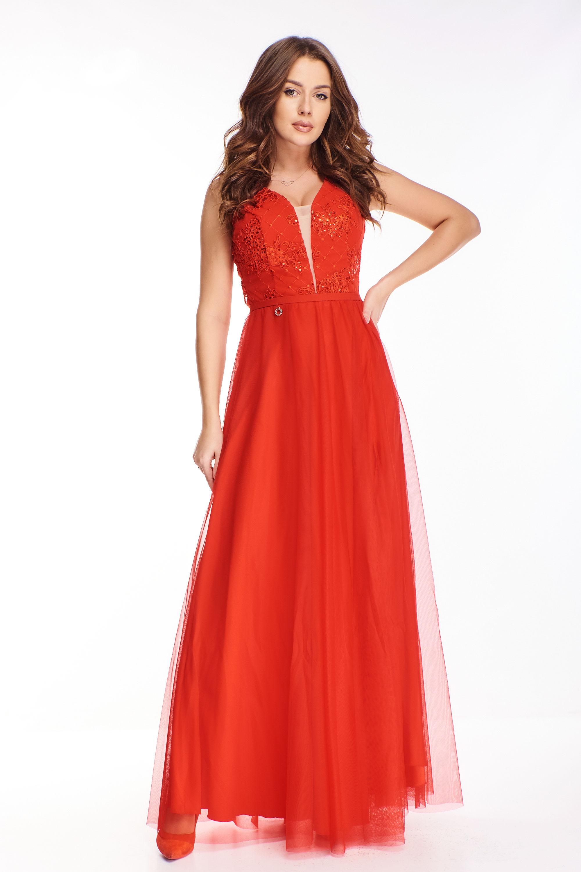 Večerné červené šaty s vyšívaným topom s flitrami - 40