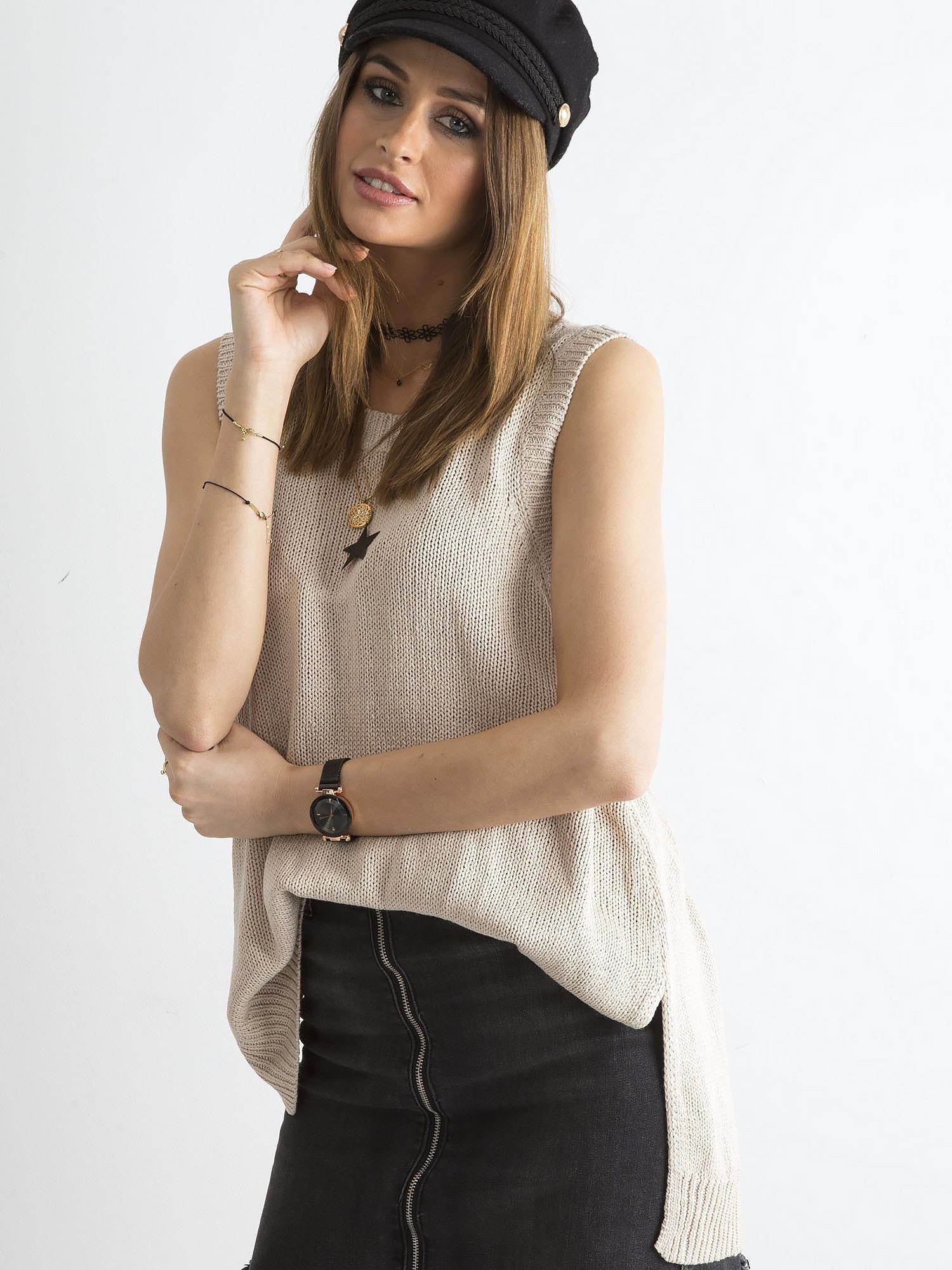 Dámska béžová pletená vesta - M