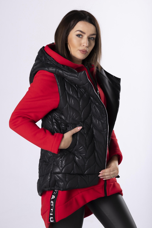 Asymetrická krátka čierna vesta - XL