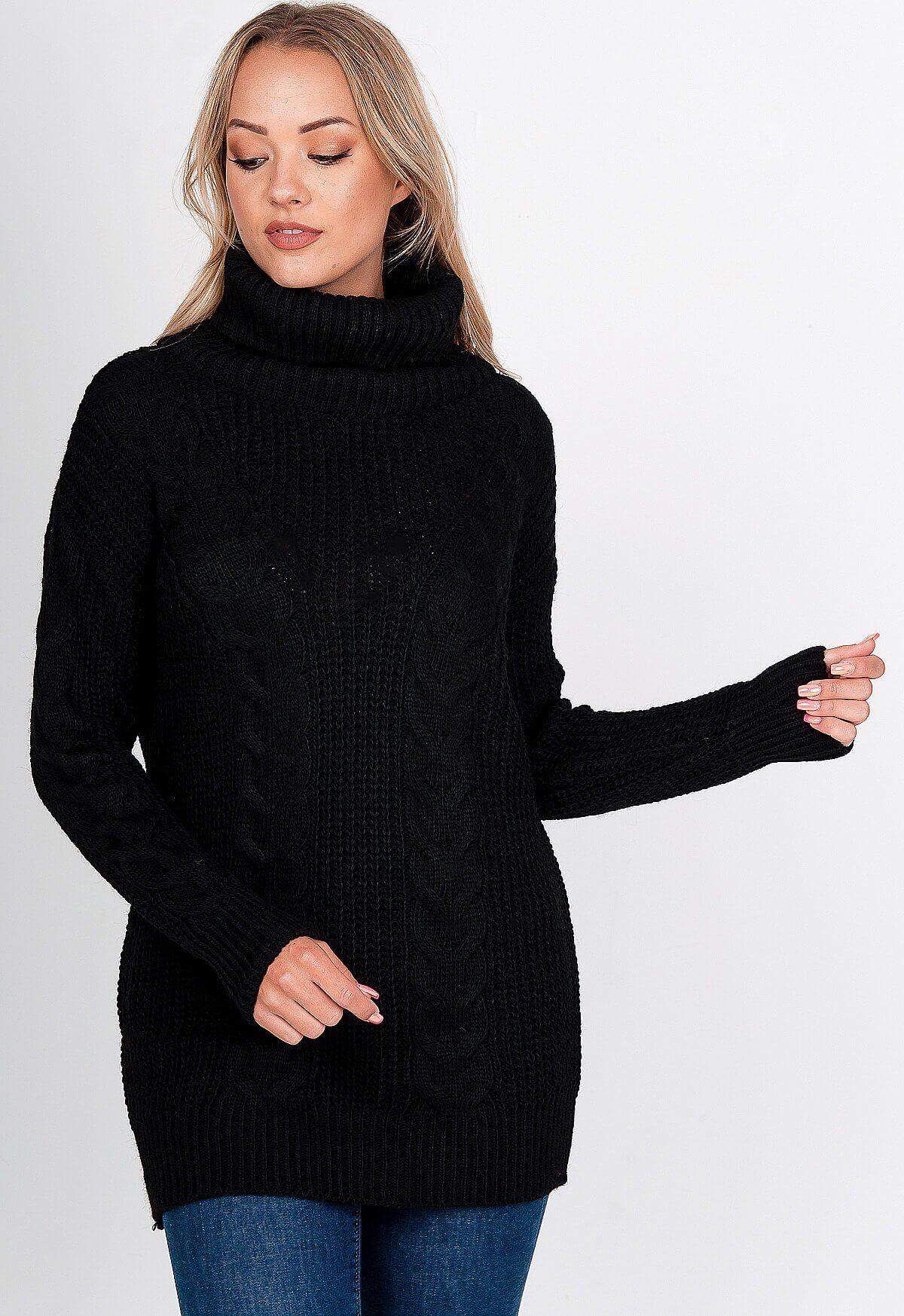 Vlnený čierny sveter s rolákom - UNI