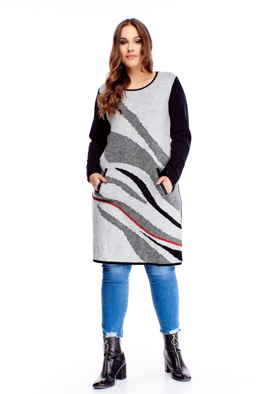 Dámsky vlnený dlhý sivý sveter s vreckami - M