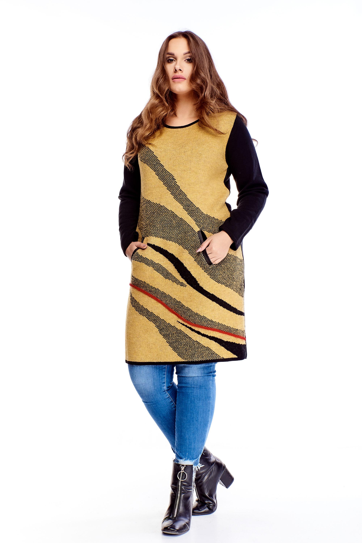Dámsky vlnený dlhý žltý sveter s vreckami - M