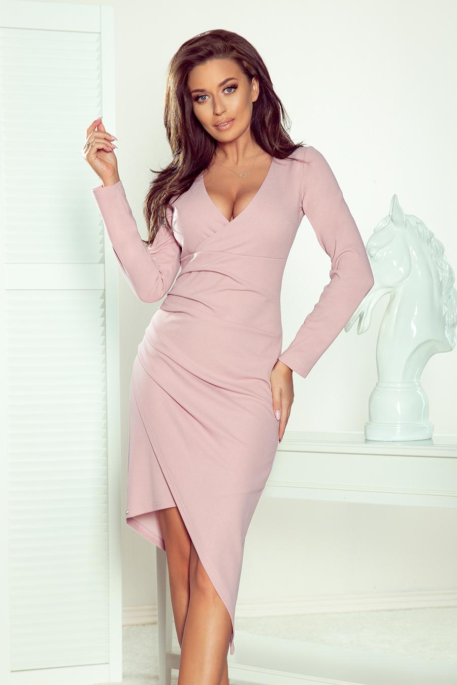 Puzdrové šaty s asymetrickou dĺžkou v ružovej farbe - S