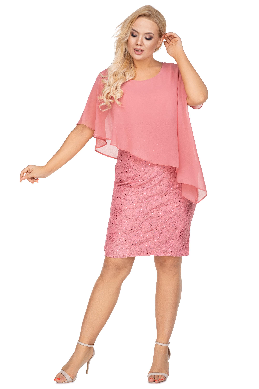 Ružové elegantné šaty s tylovým závojom - 42